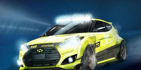 Hyundai is bringing the Yellowcake EGR Night Racer Veloster Turbo to SEMA this year.