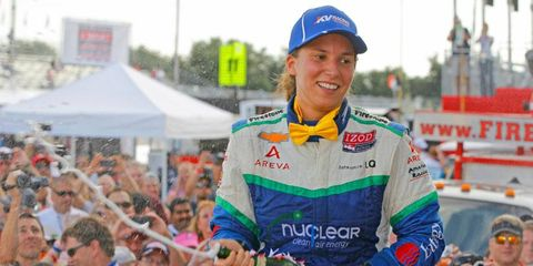 Simona De Silvestro celebrates a runner-up finish in Houston on Saturday and her first career IndyCar podium.