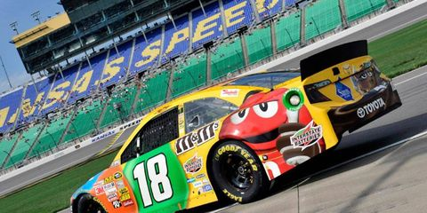 Kyle Busch will start at the rear of the field on Sunday after crashing his primary car in practice on Saturday.