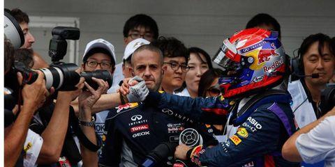 Sebastian Vettel accepts congratulations after his pole on Saturday in Korea.