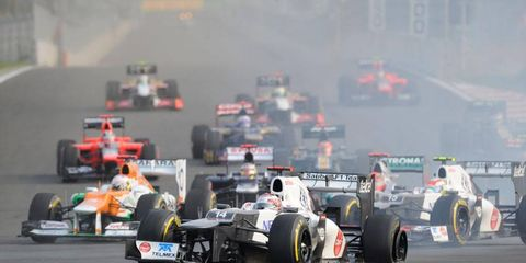 Action from last year's Korean Grand Prix, which was won by Red Bull Racing's Mark Webber from the pole.
