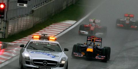 The weather on race day in Korea could be much worse than Formula One experienced in the rain-delayed 2010 race (above).