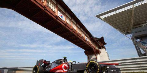 Formula One returns to Korea on Sunday, weather permitting.