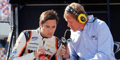 """Nelson Piquet Jr., left, was fined by NASCAR for using an """"insensitive and derogatory"""" term."""