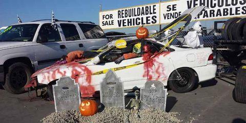 This display greets junkyard customers.