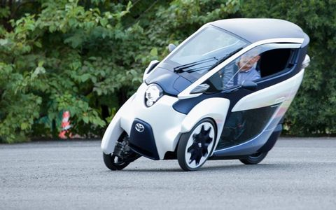 The i-Road leans into corners like a half-motorcycle.