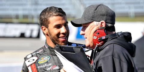 Darrell Wallace Jr., left, won the Camping World Truck Series race at Martinsville on Saturday.
