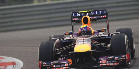 Mark Webber practices the Buddh Circuit on Friday.
