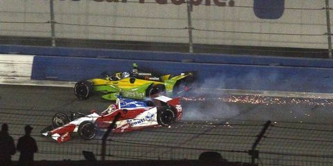 Justin Wilson was involved in a wreck during Saturday night's race in Fontana. The crash broke his pelvis.