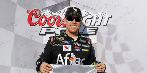 Carl Edwards won the pole at Texas on Friday with a lap of 196.114 mph.