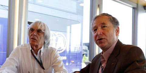 Jean Todt, right, is shown here with Formula One boss Bernie Ecclestone in Hungary in July. Todt is poised for another four-year term as president of the FIA after rival David Ward dropped out of contention.