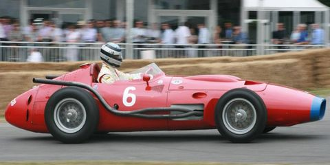 The Maserati 250F shows up at vintage events.