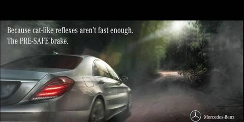 Mercedes strikes back at Jaguar in a battle of advertising wit.
