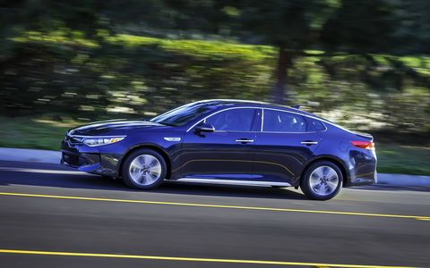The 2017 Kia Optima Hybrid delivers 154 hp from it's 2.0-liter four, with 50 more coming from an electric motor.