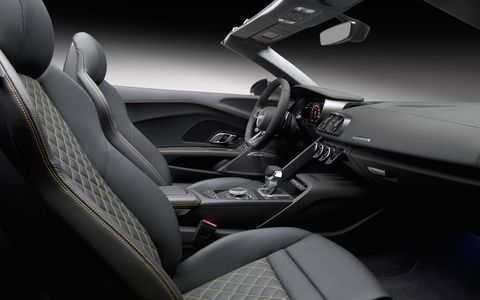 The R8 V10 Spyder with 5.2-liter engine and seven-speed S-tronic dual-clutch transmission delivers 540 hp and 398 lb-ft of torque. It accelerates from 0-60 mph in only 3.5 seconds, one tenth of a second faster than the previous generation R8 V10 Spyder.