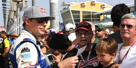 Travis Pastrana, shown at a NASCAR event in 2013, is returning to the Camping World Truck Series for the Las Vegas race on Oct. 3.