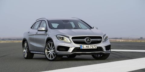 For the 2016 model year, the Mercedes-AMG CLA45 and GLA45 get a power boost -- up to 375 hp -- and a slate of interior upgrades. Photos show European-spec cars.