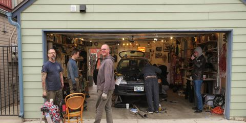 Because it was a party, and an unseasonably warm day for Denver in February, we kept the garage door open.