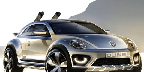Volkswagen's Beetle Dune concept. You can take it skiing! There are skis!