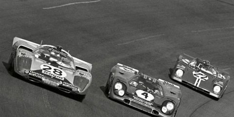 Classic sports cars, like these from 1971, will be back on the track at Daytona International Speedway, Nov. 12-16. Pictured here are the No. 28 Ferrari 512S, No. 4 Porsche 917 and the No. 22 Ferrari 512M.