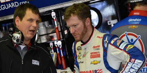 Steve Letarte, shown with Dale Earnhardt Jr., will be leaving the garage in 2015. The longtime crew chief will join NBC Sports.