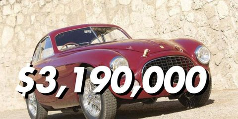 With a final price of $3,190,000, this 1951 Ferrari 212 Export Berlinetta is the top 2014 Scottsdale collector car auction sale so far.
