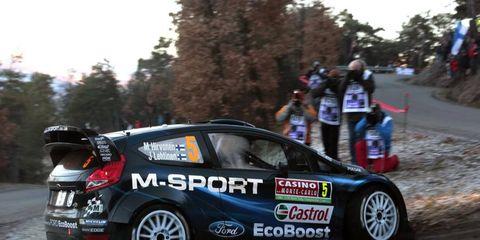 Mikko Hirvonen skids around a corner at Monte Carlo. Rallye Monte Carlo starts today.