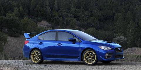 The 2015 Subaru WRX STI debuted in its native colors.