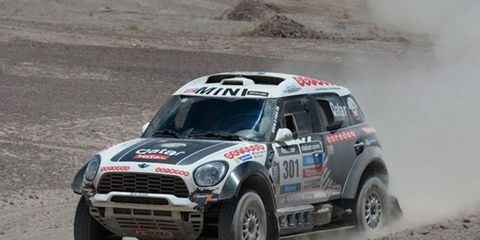 Nasser Al-Attiyah rolls to the win on Monday's eighth stage of the Dakar Rally.
