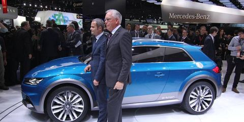 Audi's Dr. Ulrich Hackenberg with the Allroad e-tron concept. A real doctor professor! In Detroit!