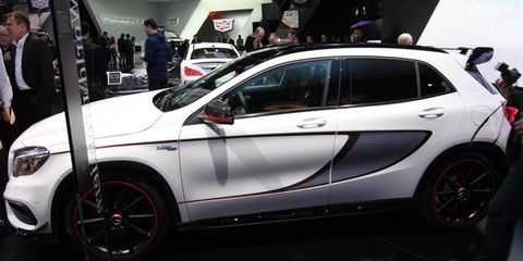 The Mercedes-Benz GLA45 AMG gets a high-strung turbo four making 355 hp (shown here on the stand at the Detroit auto show).