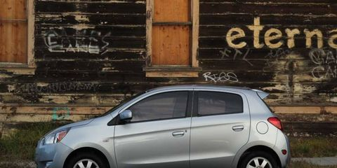 The new Mitsubishi Mirage looks much like all the other cute little gas-sipper hatchbacks these days.