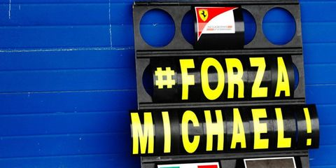 The Ferrari Formula One team pays tribute to Michael Schumacher at Jerez on Tuesday.