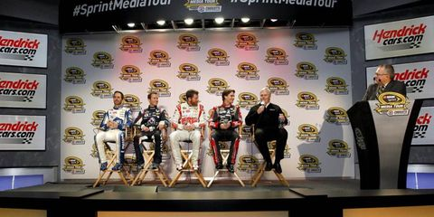 The Hendrick Motorsports team answers questions during the first day of the NASCAR Media Tour.