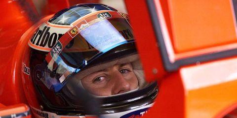Michael Schumacher after winning the pole for Ferrari at Brazil in 2000.