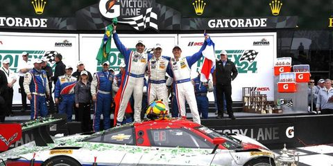 Action Express Daytona Prototype Chevrolet Corvette, driven by Joao Barbosa, took the team's second Rolex 24 Hours at Daytona.
