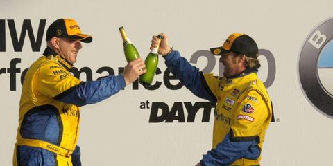 Bill Auberlen and Paul Dalla Lana celebrate after winning Friday's Continental Tire Series race. Their joy was short lived, as they were later disqualified.