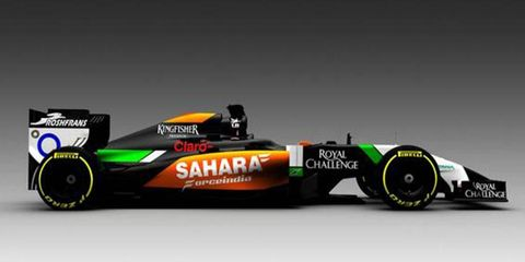The 2014 VJM07 Force India Formula One car was among three cars participating in a test session at Silverstone on Friday,.