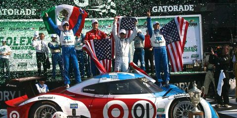 Graham Rahal (second from left) is no stranger to victory lane at the Rolex 24 at Daytona.