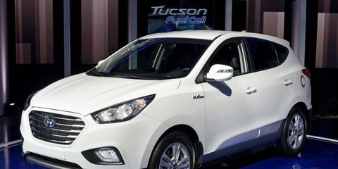 The Hyundai Tucson Fuel Cell CUV claims to have a 250-300 mile range and refuel in under 10 minutes.