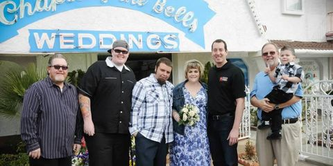 NASCAR Sprint Cup driver Kyle Busch helped officiate a wedding in Las Vegas earlier this week.