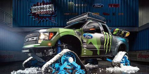 Ken Block's latest creation is a power hungry jacked up Raptor on tracks.