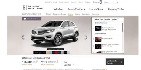 As of today, you can build and price a Lincoln MKC.