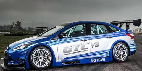 The Global Touring Car Series revealed its first race car on Tuesday. A 500 hp, V8, rear-wheel drive Ford Focus.