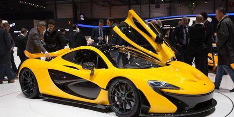 The McLaren P1 on display at the 2013 Geneva Motor Show.