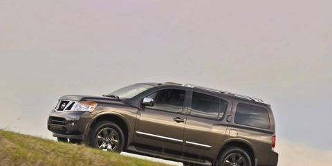 The 2014 Nissan Armada Platinum hasn't seen many updates since its launch in 2004, aside from a mild facelift in 2008.