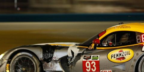 The No. 93 Viper driven by Jonathan Bomarito, Kuno Wittmer and Rob Bell took a few hits during the Rolex 24 at Daytona.