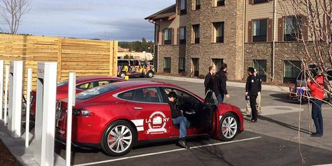 About 12 hours in, the team charges up the Model S sedans in Arizona.