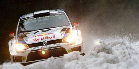 Jari-Matti Latvala charges to the World Rally Championship victory in Spain on Saturday.