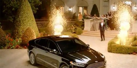 James Franco got nearly double in Ford's fuel-economy focused Fusion Hybrid commercial.